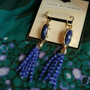 NWT Dana Buchman bead earrings blue gold tone